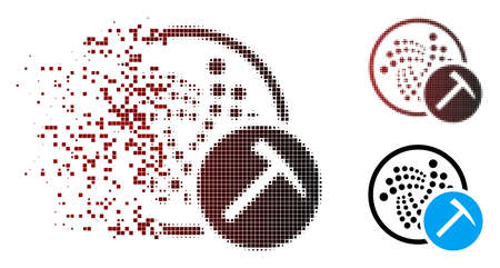Iota mining hammer icon in dispersed, pixelated halftone and undamaged whole versions. Cells are grouped into vector dispersed Iota mining hammer icon.
