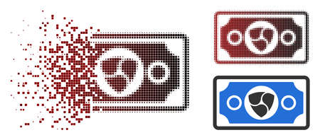 NEM banknote icon in dispersed, dotted halftone and undamaged solid variants. Cells are grouped into vector dissipated NEM banknote icon.