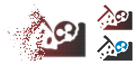 Ripple coin mining icon in dispersed, pixelated halftone and undamaged entire versions. Particles are composed into vector disappearing Ripple coin mining icon.