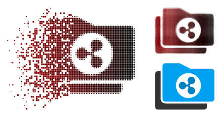 Ripple purse icon in dispersed, pixelated halftone and undamaged entire variants. Pieces are arranged into vector dispersed Ripple purse form. Ilustração