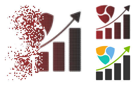 NEM growth chart icon in dispersed, pixelated halftone and undamaged entire versions. Pixels are arranged into vector dispersed NEM growth chart icon.