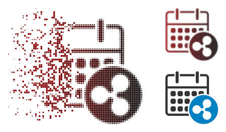 Ripple calendar icon in sparkle, dotted halftone and undamaged solid variants. Pieces are arranged into vector sparkle Ripple calendar shape.