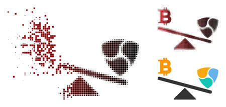Bitcoin NEM balance swings icon in sparkle, dotted halftone and undamaged whole versions. Cells are combined into vector sparkle Bitcoin NEM balance swings pictogram. Illustration