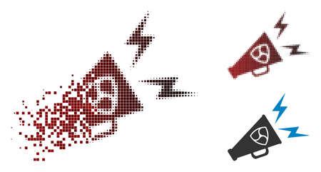 NEM megaphone alert icon in sparkle, pixelated halftone and undamaged whole variants. Particles are composed into vector sparkle NEM megaphone alert icon.