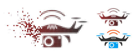 Photo spy drone icon in dissolved, dotted halftone and undamaged solid versions. Pieces are organized into vector disappearing photo spy drone icon.