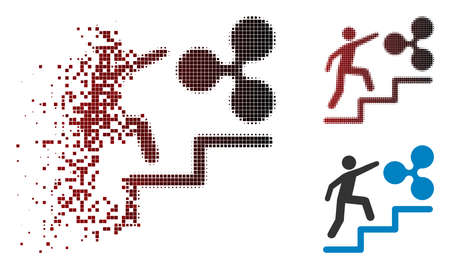 Person climbing to Ripple icon in sparkle, dotted halftone and undamaged entire versions. Elements are grouped into vector disappearing person climbing to Ripple icon.