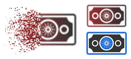 Cardano bank note icon in dispersed, pixelated halftone and undamaged whole variants. Pixels are grouped into vector dispersed cardano bank note shape.