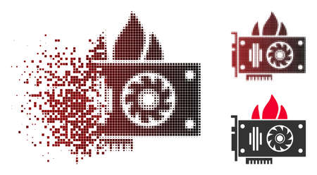 Burn video graphics card icon in fractured, dotted halftone and undamaged solid versions. Pieces are grouped into vector dissipated burn video graphics card icon. 向量圖像
