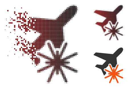 Aiplane explosion icon in dispersed, pixelated halftone and undamaged entire versions. Pixels are arranged into vector dispersed aiplane explosion icon.