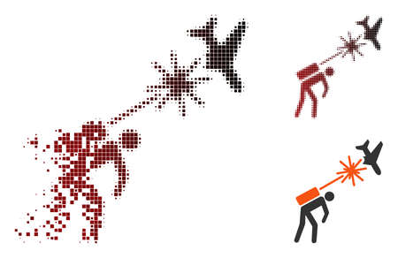 Terrorist strikes aircraft icon in dispersed, pixelated halftone and undamaged whole versions. Fragments are grouped into vector dissipated terrorist strikes aircraft icon.
