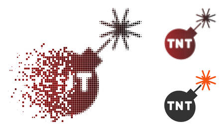 TNT bomb icon in fractured, dotted halftone and undamaged solid variants. Particles are grouped into vector dissolving TNT bomb form.