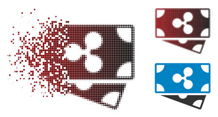 Ripple banknotes icon in dissolved, dotted halftone and undamaged entire versions. Points are combined into vector disappearing Ripple banknotes pictogram. Illusztráció