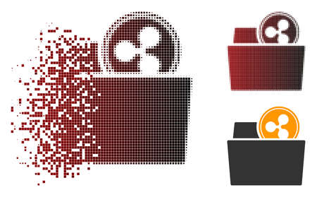 Ripple folder icon in fractured, dotted halftone and undamaged solid variants. Elements are grouped into vector sparkle Ripple folder icon. Ilustrace