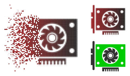 GPU card icon in sparkle, pixelated halftone and undamaged solid variants. Fragments are combined into vector sparkle GPU card symbol.