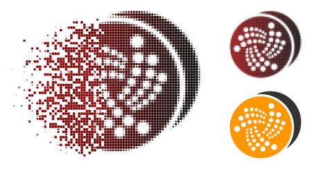 Iota coins icon in sparkle, pixelated halftone and undamaged entire versions.