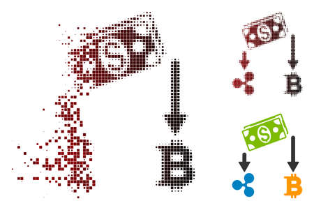 Cryptocurrency cashflow icon in fractured, pixelated halftone and undamaged whole versions. Fragments are combined into vector dispersed cryptocurrency cashflow icon. Illustration