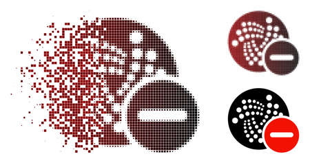 Forbidden Iota icon in dispersed, dotted halftone and undamaged whole versions. Pieces are arranged into vector disappearing forbidden Iota icon.