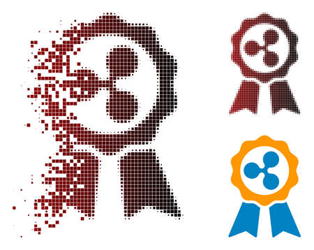 Ripple premium ribbons icon in dispersed, pixelated halftone and undamaged entire variants. Points are arranged into vector dispersed Ripple premium ribbons icon. Ilustração