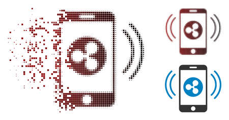 Ripple mobile control icon in fractured, pixelated halftone and undamaged entire versions. Illustration