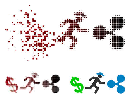Gentleman run from dollar to Ripple icon in sparkle, dotted halftone and undamaged solid versions. Pieces are organized into vector sparkle gentleman run from dollar to Ripple shape.