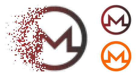 Monero symbol icon in dissolved, dotted halftone and undamaged entire versions. Illustration