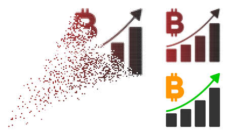 Bitcoin growth trend icon in sparkle, dotted halftone and undamaged solid variants. Points are grouped into vector disappearing Bitcoin growth trend shape. 일러스트