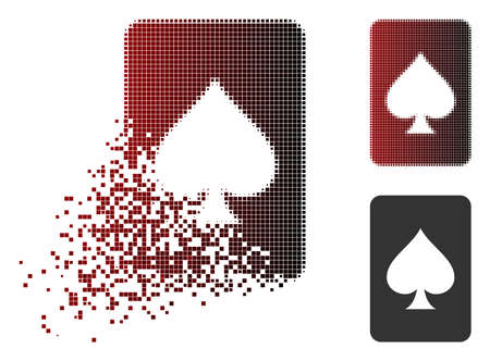 Spades gambling card icon in sparkle, pixelated halftone and undamaged entire versions. Fragments are composed into vector sparkle spades gambling card form.