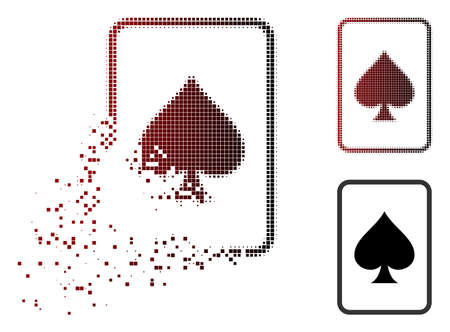Spades gambling card icon in dispersed, dotted halftone and undamaged whole variants. Pieces are composed into vector dissolving spades gambling card icon.