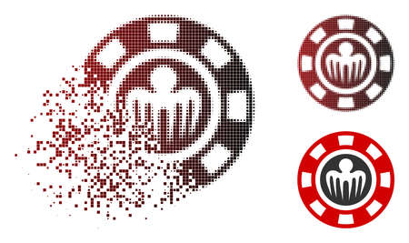 Spectre casino chip icon in sparkle, dotted halftone and undamaged entire variants. Points are organized into vector disappearing spectre casino chip symbol.
