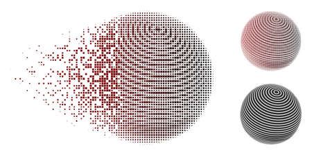 Abstract sphere stripes icon in dispersed, dotted halftone and undamaged entire versions. Pieces are organized into vector disappearing abstract sphere stripes form.