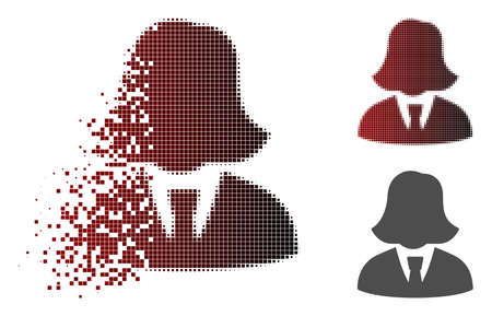 Business lady icon in fractured, pixelated halftone and undamaged solid variants. Pixels are organized into vector dispersed business lady shape. Zdjęcie Seryjne - 111512624