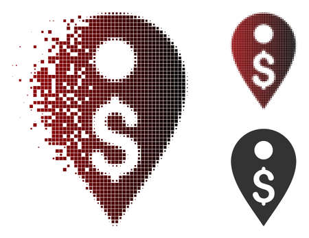 Dollar map marker icon in dispersed, dotted halftone and undamaged solid variants. Particles are grouped into vector dissolving dollar map marker figure. Illustration