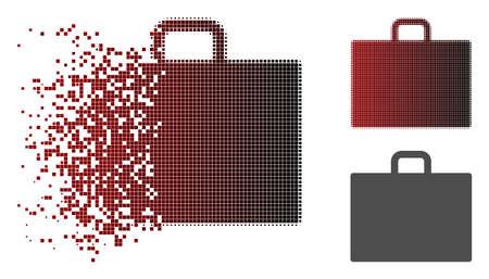 Case icon in sparkle, pixelated halftone and undamaged whole variants. Pieces are composed into vector sparkle case icon.