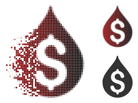 Money drop icon in sparkle, dotted halftone and undamaged solid versions. Fragments are combined into vector sparkle money drop figure. 일러스트