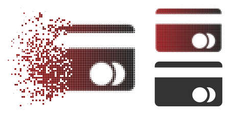 Banking card icon in dissolved, dotted halftone and undamaged entire variants. Elements are grouped into vector dissipated banking card form.