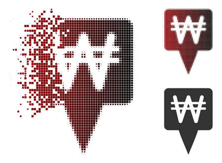 Korean Won map pointer icon in sparkle, dotted halftone and undamaged entire variants. Particles are arranged into vector sparkle Korean Won map pointer figure.