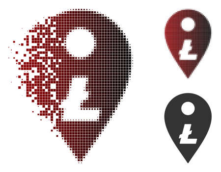 Litecoin map marker icon in dispersed, dotted halftone and undamaged whole variants. Fragments are organized into vector dispersed Litecoin map marker icon.