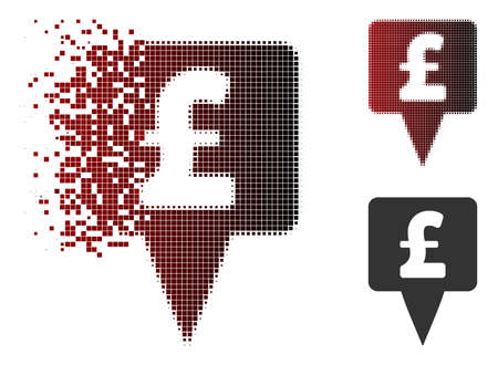Pound map pointer icon in sparkle, dotted halftone and undamaged whole versions. Elements are grouped into vector dissipated pound map pointer icon. Illustration
