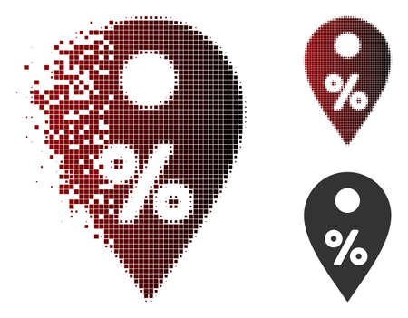Percent map marker icon in sparkle, pixelated halftone and undamaged solid versions. Particles are combined into vector sparkle percent map marker form.