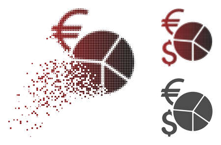 Currency pie chart icon in fractured, dotted halftone and undamaged solid variants. Elements are combined into vector dissipated currency pie chart icon.