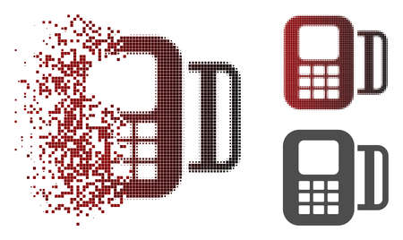 Card terminal icon in fractured, pixelated halftone and undamaged solid variants. Points are composed into vector dissipated card terminal icon.