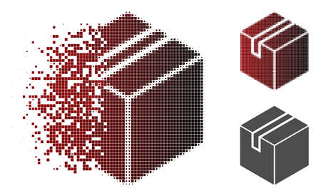 Product package box icon in dispersed, pixelated halftone and undamaged solid versions. Elements are composed into vector dispersed product package box icon. Ilustração