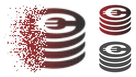 Euro coin column icon in sparkle, dotted halftone and undamaged whole versions. Cells are combined into vector sparkle Euro coin column pictogram.