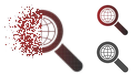 Global search icon in dispersed, dotted halftone and undamaged solid variants. Elements are combined into vector sparkle global search icon.