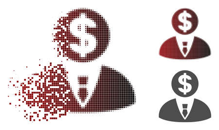Banker icon in fractured, pixelated halftone and undamaged whole variants. Elements are arranged into vector dissipated banker icon.