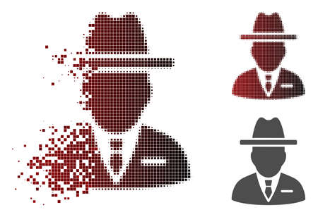 Spy person icon in sparkle, pixelated halftone and undamaged solid versions. Elements are composed into vector sparkle spy person symbol.