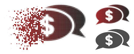 Dollar chat icon in dispersed, dotted halftone and undamaged entire variants. Points are organized into vector dispersed dollar chat icon.
