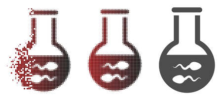 Sperm flask icon in fractured, pixelated halftone and undamaged entire versions. Points are composed into vector disappearing sperm flask figure. Illustration
