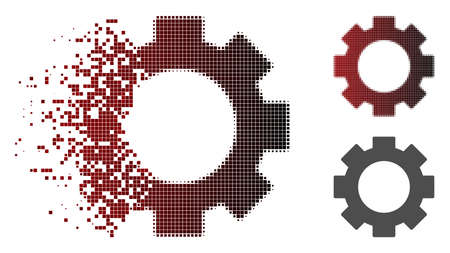 Gear icon in sparkle, dotted halftone and undamaged whole versions. Particles are composed into vector dispersed gear icon.
