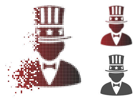 Capitalist icon in fractured, pixelated halftone and undamaged whole versions. Cells are grouped into vector disappearing capitalist figure.